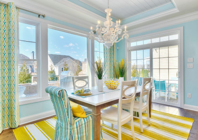 Yellow and Turquoise Cottage Dining Room. Coastal Yellow and Turquoise Cottage Dining Room. Yellow and Turquoise Cottage Dining Room Ideas. #YellowandTurquoiseCottageDiningRoom #YellowandTurquoise #CottageDiningRoom #DiningRoom #turquoiseDiningRoom Echelon Custom Homes