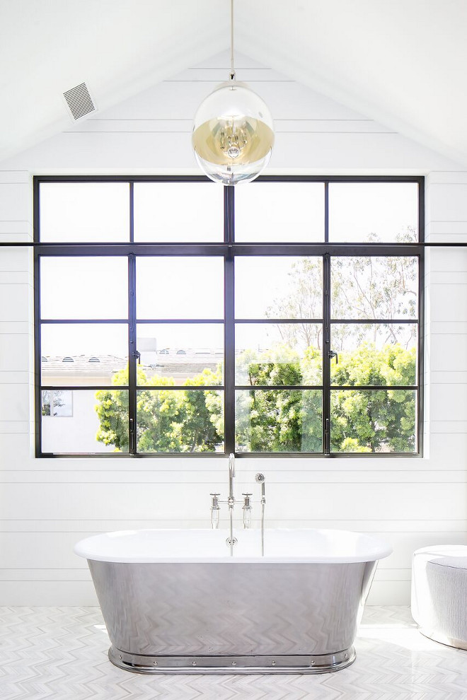 Bathroom Black Steel Window and shiplap walls. Bathroom Black Steel Window and shiplap wall ideas. Bathroom Black Steel Window and shiplap walls #Bathroom #BlackSteelWindow #shiplap Patterson Custom Homes