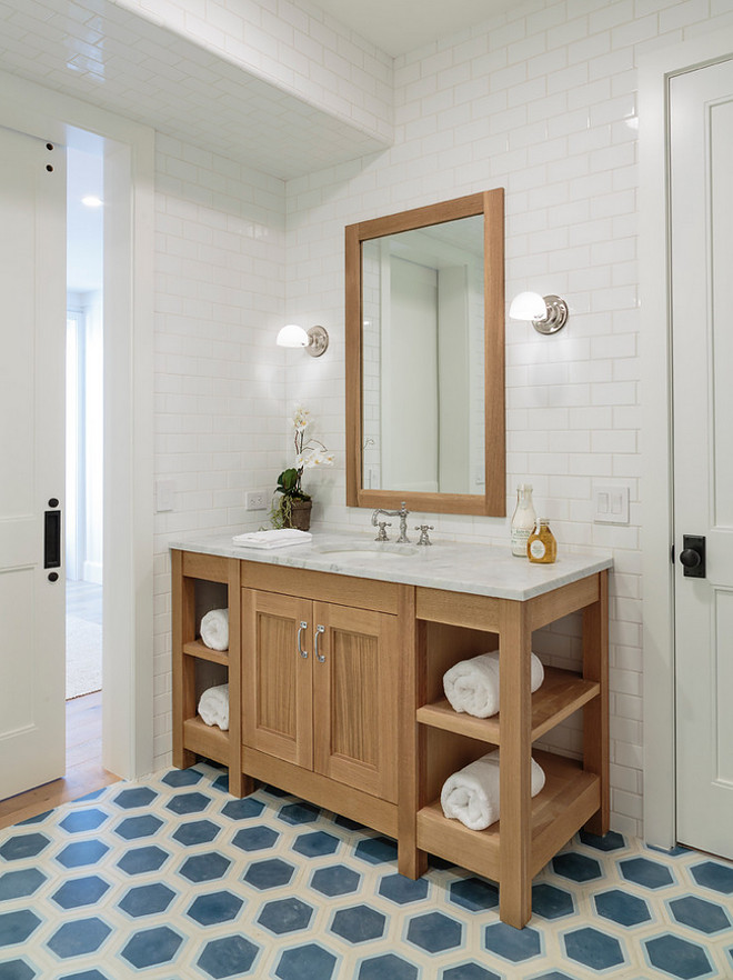 Bathroom Floor To Ceiling Wall Subway Tile And Hex Cement Floor Tile.  Bathroom Floor To