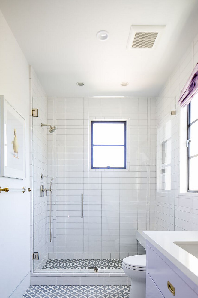 Bathroom white subway shower tile and cement floor tile. Bathroom white subway shower tile. Bathroom white subway shower tile and cement floor tile. ideas. Bathroom white subway shower tile and cement floor tile #Bathroom #whitesubway #shower #tile #cementtile #floortile Patterson Custom Homes