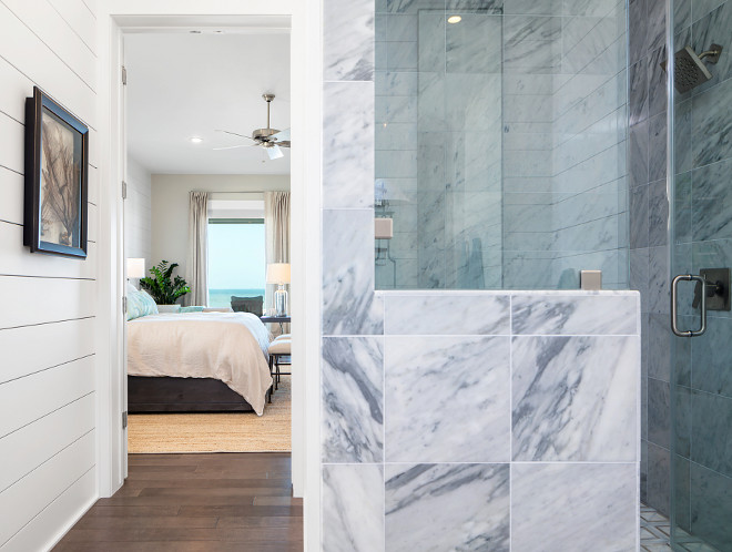 Bathroom with shiplap walls and marble shower - Julie Barrett Design