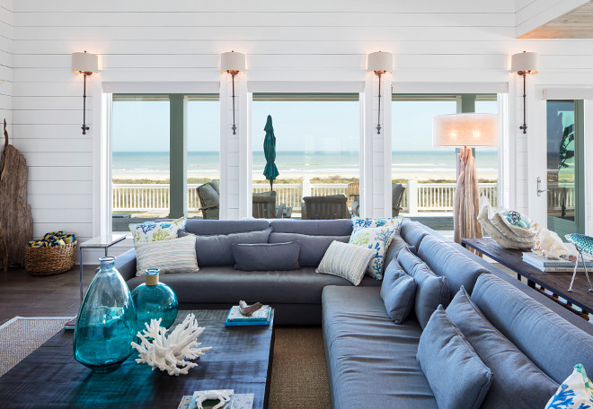 Beach House Living Room Furniture. Beach House Living Room Furniture. Sectional: Restoration Hardware.  Pillows: Kravet fabric. Beach House Living Room Furniture. Beach House Living Room Furniture. Beach House Living Room Furniture #BeachHouseLivingRoomFurniture #BeachHouse #LivingRoomFurniture Julie Barrett Design