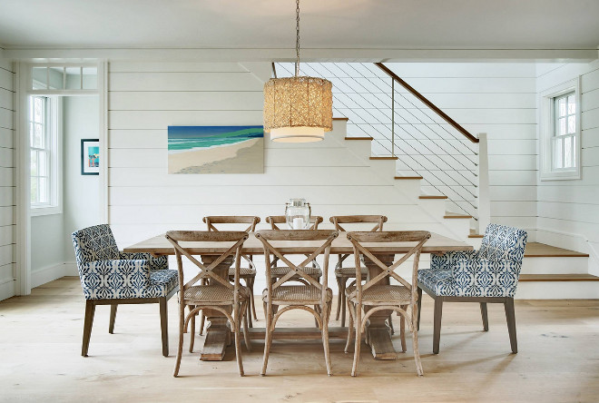 Beachy interiors with shiplap. Beachy interiors with White shiplap walls Whitewashed wood chairs and bleached hardwood floor #beachyinteriors #shiplap #whiteshiplap #bleachedhardwoodfloors Emeritus