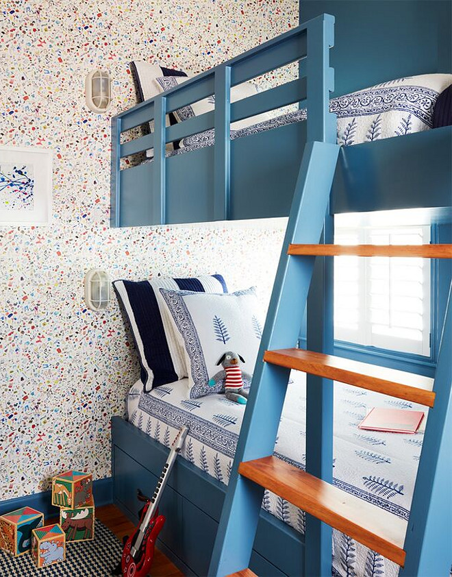 Bedford Blue by Benjamin Moore. Wallpaper is Too Much Stuff by Flat Vernacular. Navy blue paint color Bedford Blue by Benjamin Moore. Bedford Blue by Benjamin Moore #BedfordBluebyBenjaminMoore Andrew Howard Interior Design