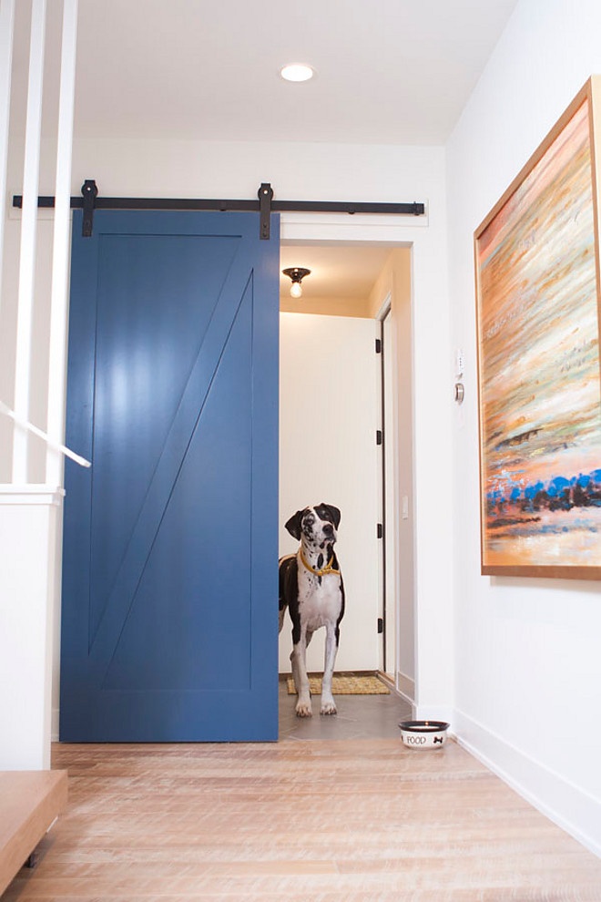 Benjamin Moore 840 Kensington Blue. Barn door painted in Benjamin Moore 840 Kensington Blue.Benjamin Moore 840 Kensington Blue. Benjamin Moore 840 Kensington Blue. #BenjaminMoore840KensingtonBlue #BenjaminMooreKensingtonBlue #BenjaminMoorePaintColors Refined Custom Homes