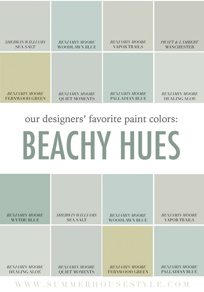 Coastal Benjamin Moore Color Palette. Soothing Coastal Benjamin Moore Color Palette. Sherwin Williams Sea Salt. Benjamin Moore Woodlawn Blue. Benjamin Moore Vapor Trails. Pratt and Lambert Manchester. Benjamin Moore Fernwood Green. Benjamin Moore Quiet Moments. Benjamin Moore Palladian Blue. Benjamin Moore Healing Aloe. Benjamin Moore Whyte Blue. Sherwin Williams Sea Salt Coastal Benjamin Moore Paint Colors #CoastalBenjaminMoore #CoastalColorPalette #SoothingBenjaminMooreColorPalette #Coastal #BenjaminMoorePaintColors Via Summer House Style