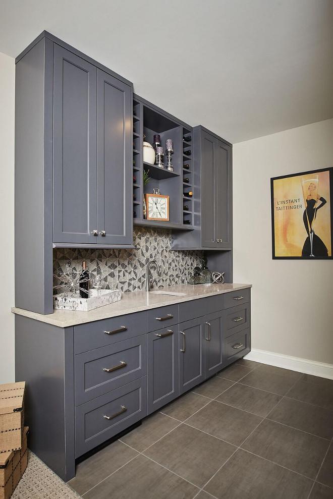 Benjamin Moore Kendall Charcoal. Wet bar cabinet paint color Benjamin Moore Kendall Charcoal #BenjaminMooreKendallCharcoal Mike Schaap Builders