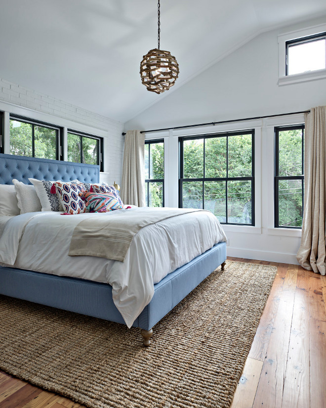 Benjamin Moore Simply white. Bedroom painted in Benjamin Moore Simply White and black steel windows. Benjamin Moore Simply white. Farmhouse Bedroom painted in Benjamin Moore Simply White and black steel windows #BenjaminMooreSimplyWhite Avenue B Development