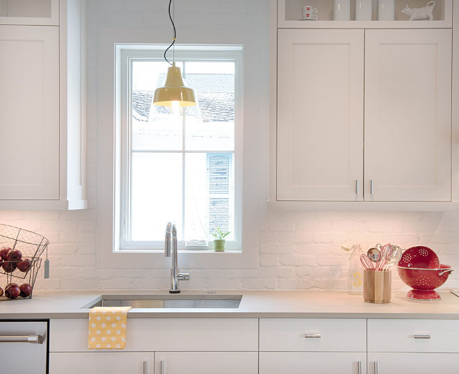 Benjamin Moore White. Benjamin Moore White. I am loving the combination of Pewter Quartz countertop with the white brick backsplash. The walls and cabinets are painted in Benjamin Moore White (ready mix). Benjamin Moore White. Benjamin Moore White. Benjamin Moore White #BenjaminMooreWhite Refined Custom Homes