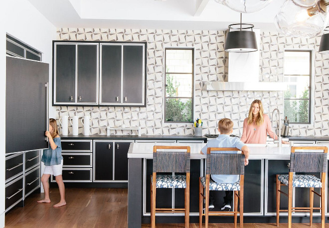 Black and white transitional kitchen with black and white cement tile backsplash Patterson Custom Homes