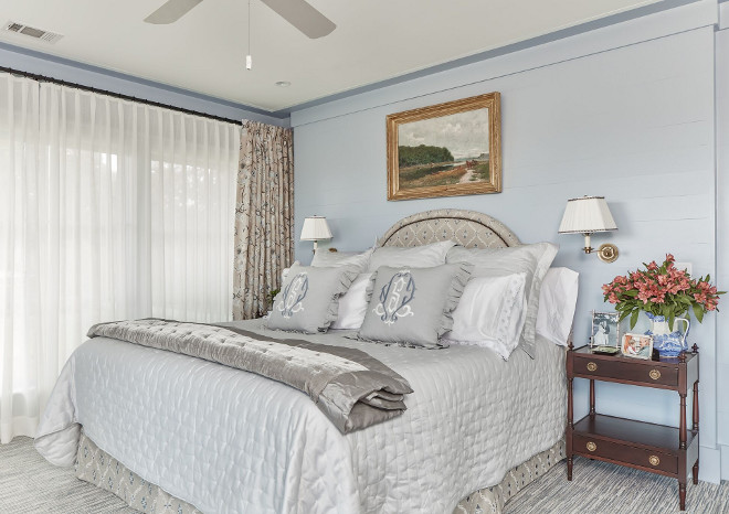 Blue Gray Bedroom Paint Color. The paint color is Farrow and Ball Parma Gray Blue Gray Bedroom Paint Color Ideas. Blue Bedroom Paint Color. Gray Bedroom Paint Color #BluegrayBedroomPaintColor #FarrowandBallParmaGray Nancy Serafini Interior Design