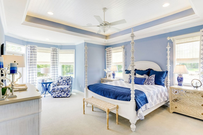Blue and white master bedroom. Blue and white master bedroom with tray beadboard ceiling. Blue and white master bedroom #Blueandwhite #Blueandwhitebedroom #masterbedroom #trayceiling #beadboardceiling Echelon Interiors