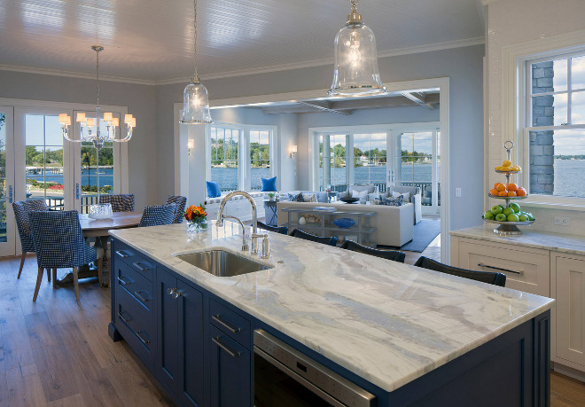 Blue kitchen island with white Lumen quartzite countertop. Lumen Quartzite. Blue kitchen island with white quartzite countertop ideas. Coastal kitchen with Blue kitchen island with white quartzite countertop #coastalkitchen #Bluekitchenisland #kitchenisland #whitequartzite #countertop #LumenQuartzite #Lumen #quartzite Francesca Owings Interior Design
