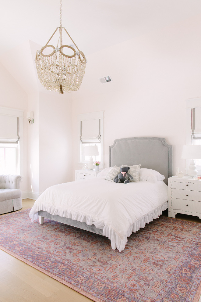 Blush Pink Bedroom. Blush Pink and grey Bedroom. This blush pink color scheme works perfectly for this little girl's bedroom. Lighting is Ro Sham Beaux Blush Pink Bedroom. Blush Pink Bedroom ideas #BlushPink #Bedroom #BlushPinkbedroom Kate Marker Interiors