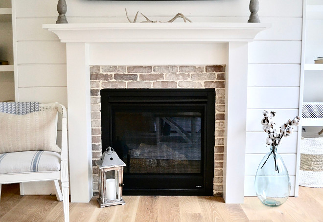 Brick Fireplace. The brick used on the fireplace is Old Mill Brick in Rushmore #brickfireplace #brick #fireplace #OldMill #Brick Home Bunch's Beautiful Homes of Instagram @sweetthreadsco