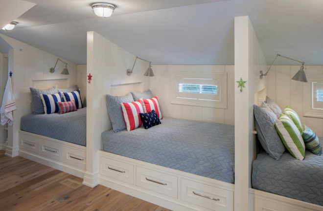 Built in Beds with storage drawers. Built in Beds with storage drawer ideas. Built in Beds with storage drawer design. Storage Beds. Built in Beds with storage drawers and shiplap paneling. #BuiltinBeds #storagedrawers #shiplap #paneling #shiplappaneling #storagebeds Francesca Owings Interior Design