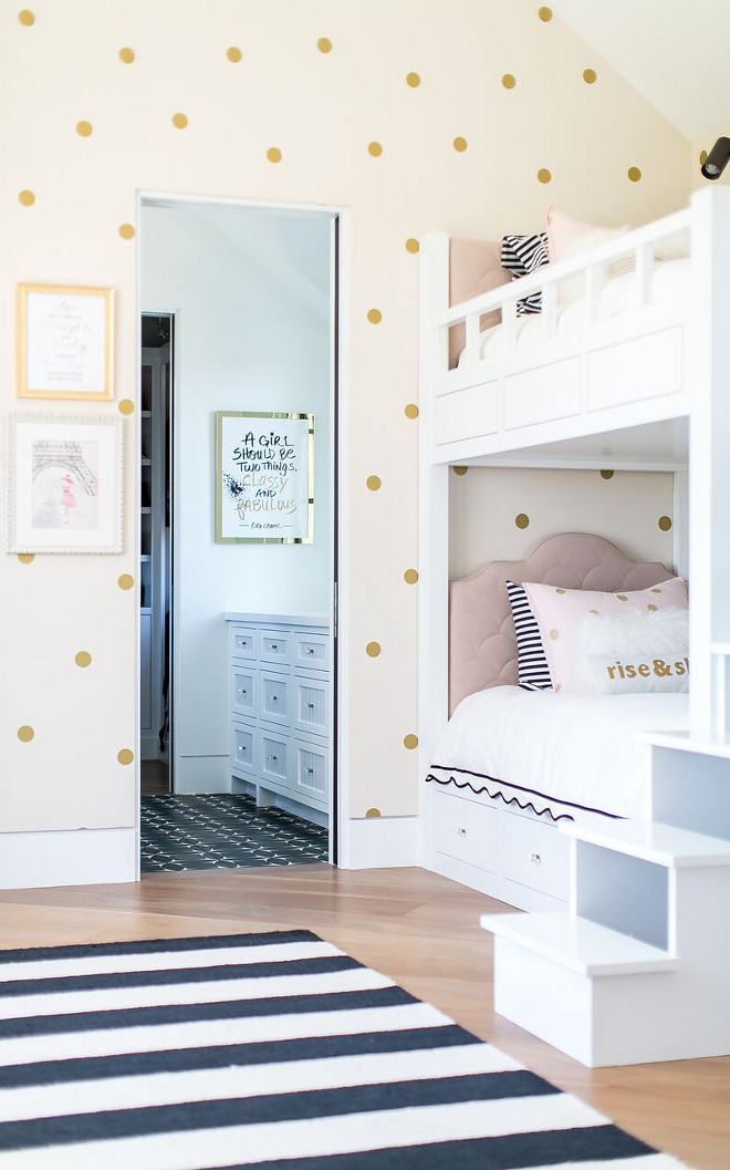 Bunkroom Wallpaper. Walls feature gold polka dots decal. Bunkroom Wallpaper. Bunkroom Wallpaper. Bunkroom Wallpaper #BunkroomWallpaper #Bunkroom #Wallpaper Patterson Custom Homes
