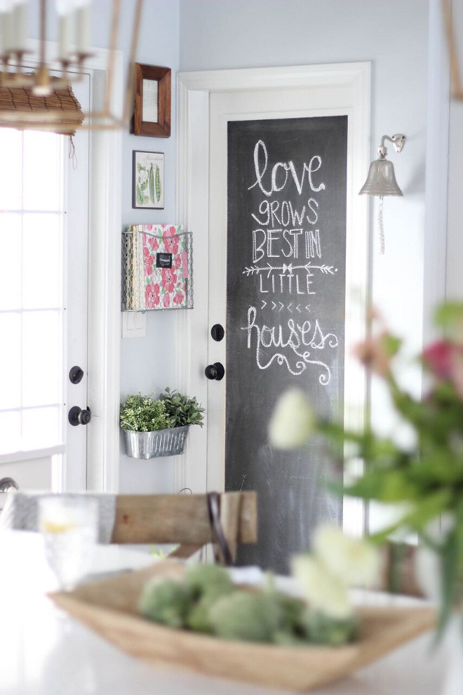 Chalkboard Door. DIY Chalkboard Door. Chalkboard Door - DIY (I have a tutorial on the blog) DIY Farmhouse Chalkboard Door Chalkboard Door. Chalkboard Door #ChalkboardDoor #DIYChalkboardDoor #DIYFarmhouse #DIYFarmhouseDoor Home Bunch's Beautiful Homes of Instagram @laura_willowstreetinteriors