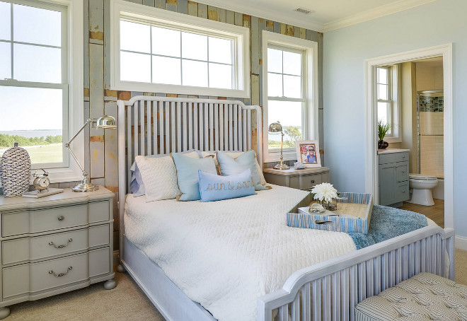 Coastal Blue Bedroom. Coastal Cottage Blue Bedroom Paint Color Sherwin Williams Copen Blue. The accent wall is a laminate flooring, applied vertically - Nuvelle Beach House Lagoon Laminate Floor. Coastal Cottage Blue Bedroom Design. Coastal Cottage Blue Bedroom Decor. Coastal Cottage Blue Bedroom Ideas Sherwin Williams Copen Blue. Sherwin Williams SW 0068 Copen Blue #SherwinWilliamsCopenBlue #CoastalBlueBedroom #BlueBedroom #CoastalCottageBlueBedroom #CottageBlueBedroom #CottageBlueBedroomDesign #CottageBlueBedroomDecor #CottageBlueBedroomIdeas Echelon Interiors