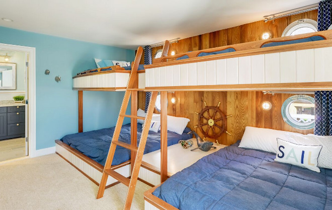 Coastal Bunk Room with custom Bunk Beds. The boy's bunkroom features custom bunk beds and a classic coastal look. Echelon Interiors