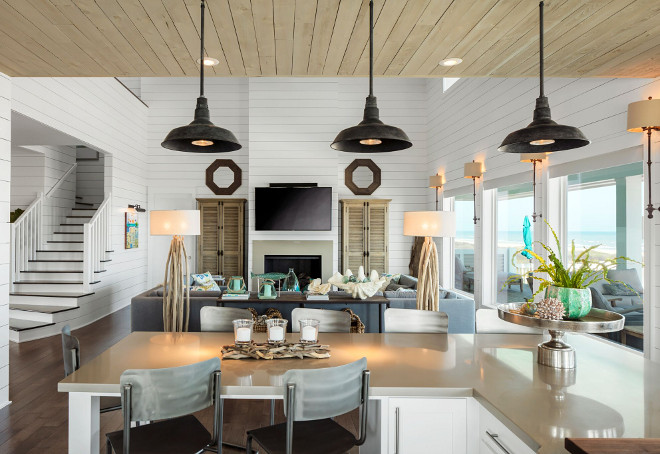 Coastal Farmhouse Kitchen Lighting. Coastal Farmhouse Kitchen Lighting Ideas. Coastal Farmhouse Kitchen Lighting. Pendants: Restoration Hardware. Coastal Farmhouse Kitchen Lighting #CoastalFarmhouseKitchenLighting #CoastalFarmhouseKitchen #Lighting #kitchenlighting Julie Barrett Design