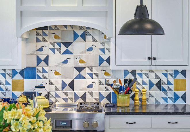 Coastal Kitchen Backsplash. Isn't this coastal backsplash tile adorable? It's perfect for a beach cottage Backsplash tiles are from Waterworks. Cabinets feature inset doors with shaker panels. #CoastalKitchen #Backsplash #coastalbacksplash Nancy Serafini Interior Design