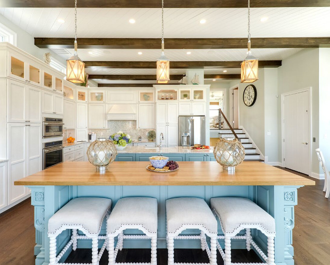 Coastal Kitchen Lighting. Coastal Kitchen Lighting Ideas. Wall Paint color is Sherwin Williams Sea Salt. Coastal pendants are by Feiss. Coastal Kitchen Lighting #CoastalKitchenLighting #CoastalKitchen #Lighting Echelon Interiors