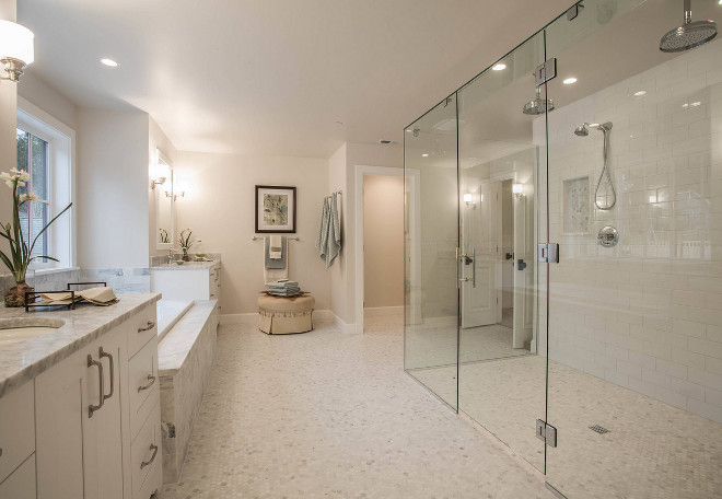 Curbless shower. Master bathroom with Curbless shower. The master bathroom features a long and wide curbless walk-in shower. Curbless shower ideas. Curbless shower #Curblessshower #curblesswalkinshower #walkinshower Calista Interiors