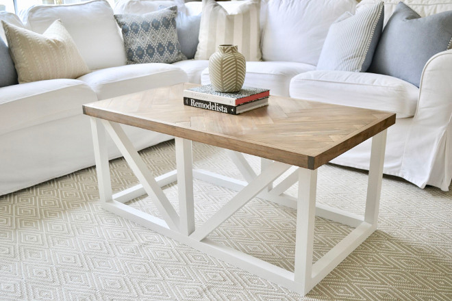 DIY Coffee table. My favorite furniture piece in this space is our coffee table. It was a labor of love built by my husband. The herringbone top took a few weekends to complete and it is a piece we will all treasure forever. #DIYCoffeetable #coffeetabletutorial Home Bunch's Beautiful Homes of Instagram @sweetthreadsco