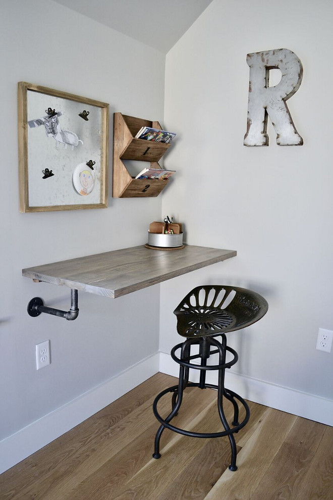 DIY Floating Desk. DIY Floating Desk. One of the most unique features in his room is the floating industrial style desk my husband built for him. It has been one of my most favorite DIY projects to date #DIYFloatingDesk Home Bunch's Beautiful Homes of Instagram @sweetthreadsco