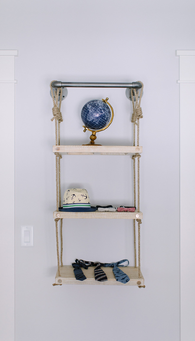 "DIY Rope and Industrial pipe shelf ideas. This Rope and Industrial pipe shelf is from Restoration Hardware but you can do it for much less money. Bookshelf is Restoration Hardware Industrial Pipe & Rope Shelf - 18"" Weathered White -$219 Rope and Industrial pipe shelf ideas #RopeIndustrialpipeshelf #diy #Ropepipeshelf Kate Marker Interiors"