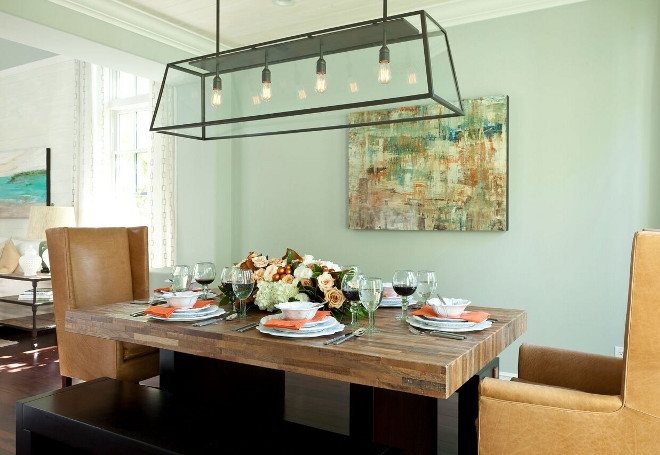 Dining room linear chandelier. Linear Chandelier is Restoration Hardware #Diningroom #linearchandelier Barclay Butera