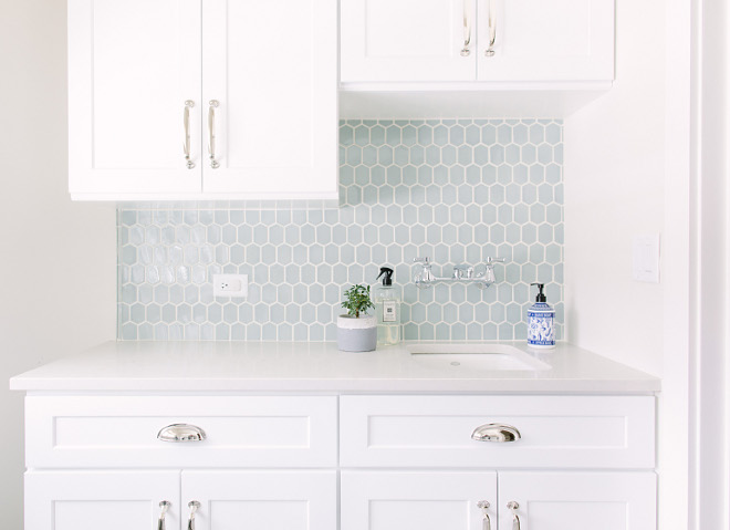 Elongated hexagon tile. Hexagon tile. Blue Hexagon tile. Laundry room with soft blue Hexagon backsplash tile. #Hexagontile #blueHexagontile #softblueHexagontile #blueHexagontile Kate Marker Interiors