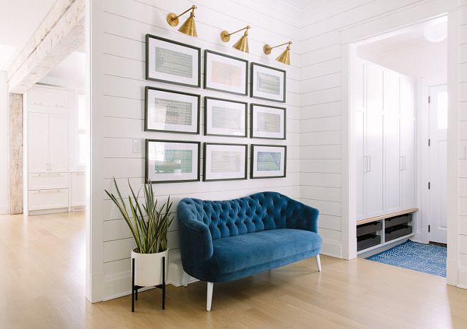 Entry Shiplap Gallery Wall Ideas. Shiplap Gallery Wall. Foyer Shiplap. Foyer Gallery Wall #Entry #Shiplap #GalleryWallIdeas #Shiplap #GalleryWall #Foyer #FoyerShiplap #FoyerGalleryWall Kate Marker Interiors