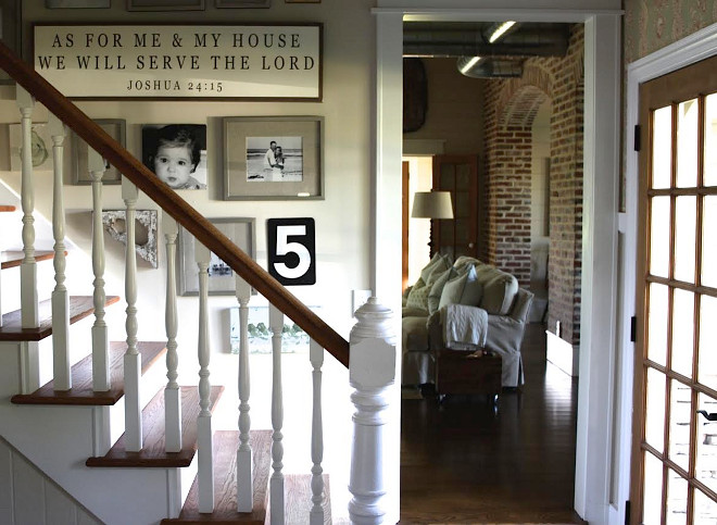 Farmhouse Foyer Gallery Wall with pictures and writen signs Home Bunch's Beautiful Homes of Instagram @blessedmommatobabygirls