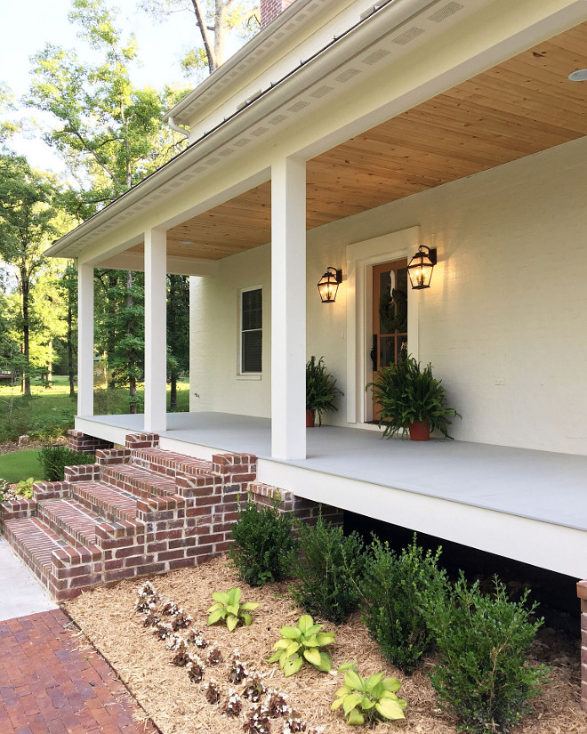 Farmhouse Front Porch with exposed brick steps. Farmhouse Front Porch with exposed brick steps. Farmhouse Front Porch with exposed brick steps. Farmhouse Front Porch with exposed brick step ideas #Farmhouse #FrontPorch #porch #exposedbricksteps #exposedbrick #bricksteps #farmhouseporch Beautiful Homes of Instagram @theclevergoose