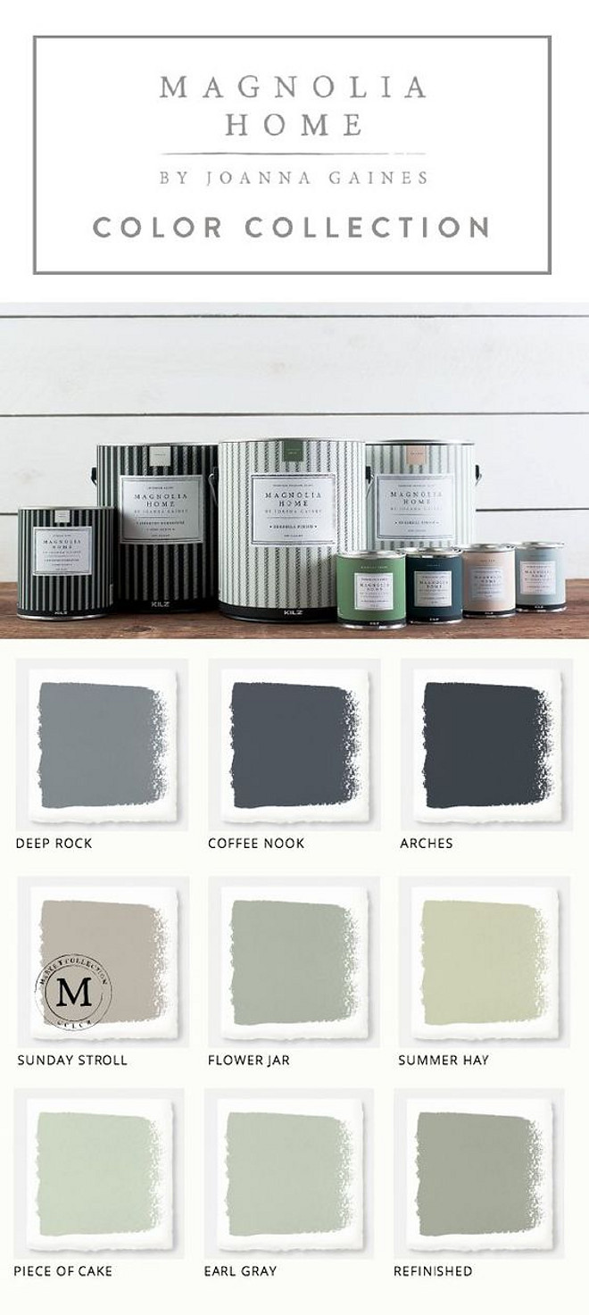 Fixer Upper Joanna Gaines Magnolia Home Paint collection. Magnolia Home Paint Deep Rock. Magnolia Home Paint Coffee Nook. Magnolia Home Paint Arches. Magnolia Home Paint Sunday Stroll. Magnolia Home Paint Flower Jar. Magnolia Home Paint Summer Hay. Magnolia Home Paint Piece of Cake. Magnolia Home Paint Earl Gray. Magnolia Home Paint Refinished. #FixerUpper #JoannaGaines #MagnoliaHome #PaintColors