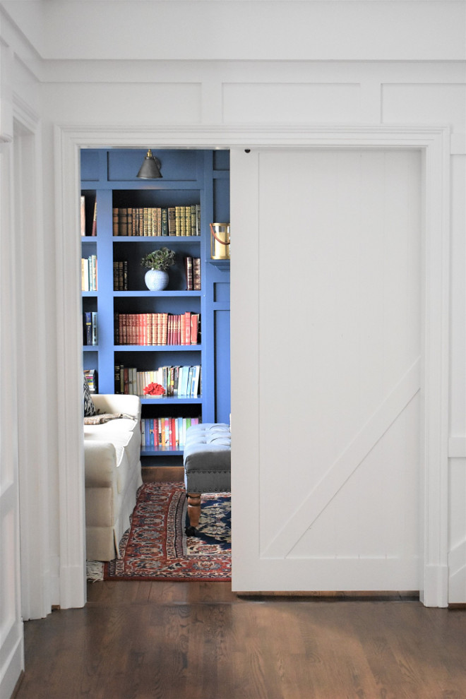 Foyer Barn Door. Foyer Barn Door Ideas. Foyer Barn Door conceals the library. Foyer Barn Door #Foyer #BarnDoor Kate Abt Design