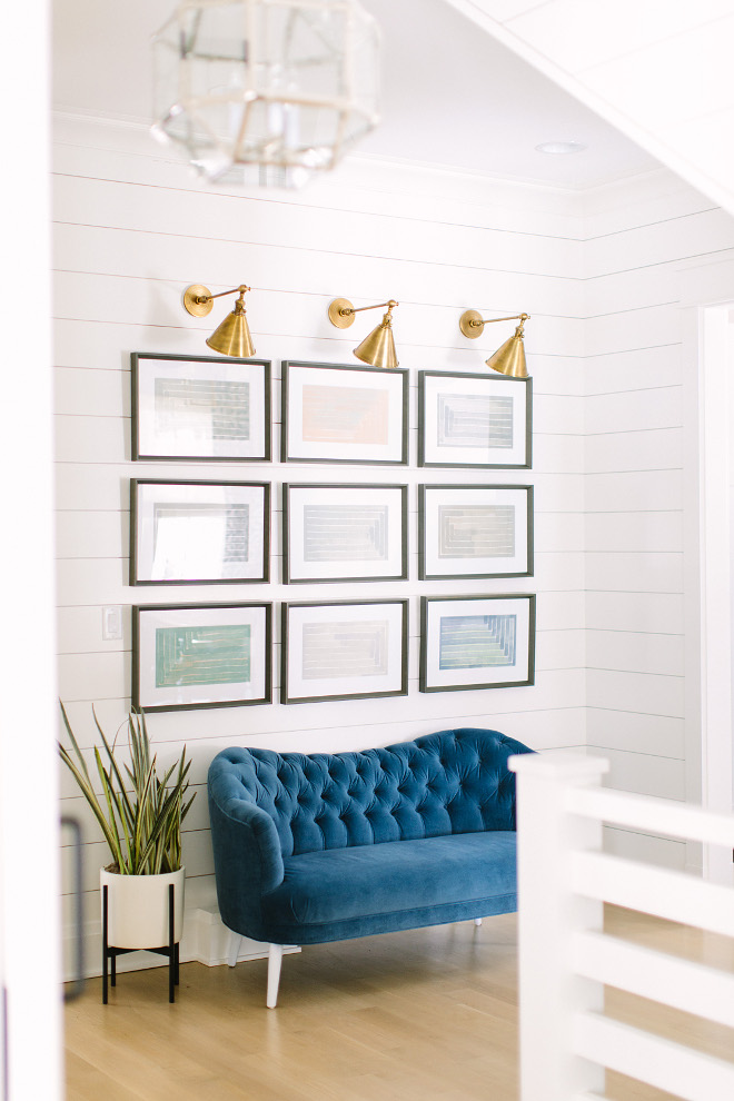 Foyer Gallery Wall. Gallery Wall Ideas. Foyer shiplap walls and Gallery Wall #GalleryWall #Foyer #Entry #Shiplap Kate Marker Interiors
