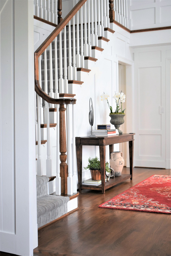Foyer Hardwood Floor. Foyer Hardwood Flooring. The hardwood flooring are existing oak floors with a custom stain. Foyer Hardwood Floors. Foyer Hardwood Floor ideas #Foyer #HardwoodFloor Kate Abt Design