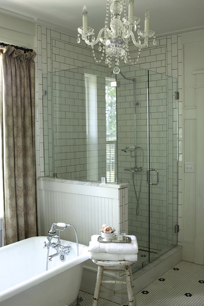French Country Farmhouse Bathroom. Wall paint color is Benjamin Moore White Dove. Master bath tile is from Buy Floors Direct (I bought all white and a few sheets of black and laid the flower pattern myself to save money). French Country Farmhouse Bathroom. French Country Farmhouse Bathroom. French Country Farmhouse Bathroom #FrenchCountry #Farmhouse #Bathroom #FarmhouseBathroom Home Bunch's Beautiful Homes of Instagram @blessedmommatobabygirls