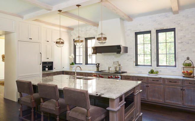 French Farmhouse Kitchen. Modern French farmhouse kitchen with whitewashed lower cabinets and island. French Farmhouse Kitchen Design. French Farmhouse Kitchen Ideas. French Farmhouse Kitchens #FrenchFarmhouseKitchen #FrenchKitchen #FarmhouseKitchen Christopher Architecture & Interiors