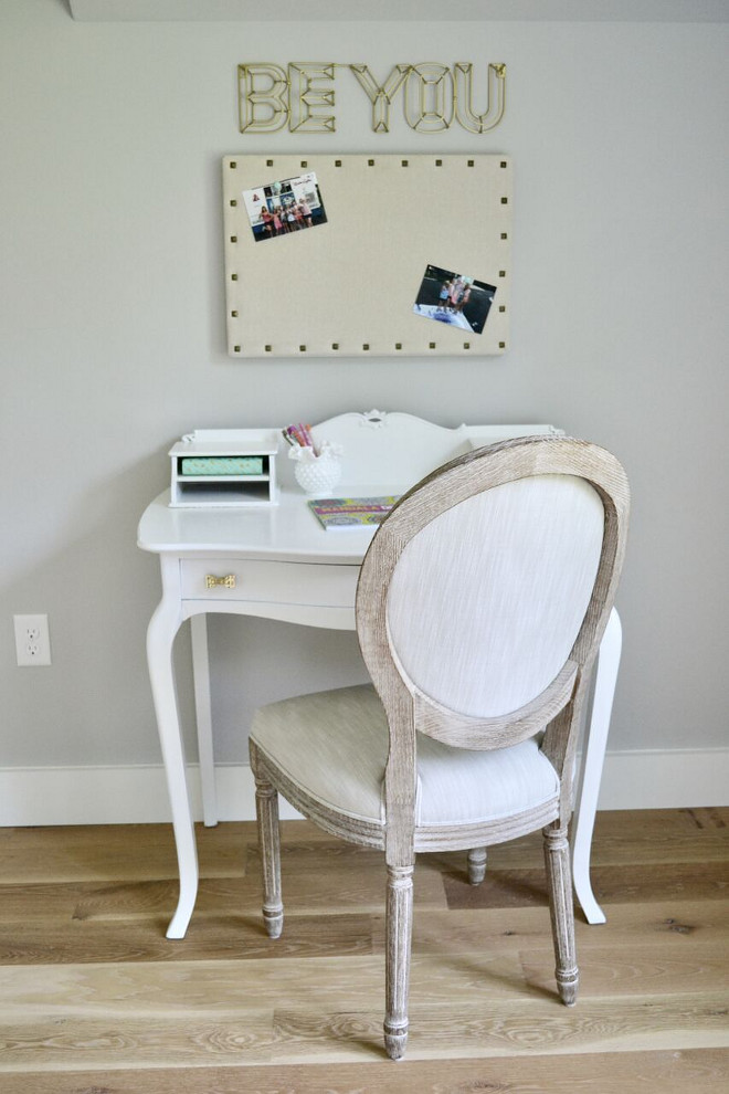 "Girls Bedroom Desk. Girls Bedroom Desk Ideas. Antique desk painted in SW Alabaster. ""Be You"" Art: Target Desk Chair: Restoration Hardware Gold Bow Knobs: Anthropologie. Girls Bedroom Desk #GirlsBedroomDesk #Desk Home Bunch's Beautiful Homes of Instagram @sweetthreadsco"