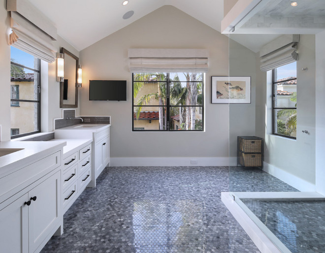 Grey Hex Floor Tile. The master bathroom flooring is New Ravenna's Greystoke Hex 3 cm floor tile. Grey Hex Floor Tile. Grey Hex Floor Tile. Grey Hex Floor Tile #GreyHexFloorTile #HexFloorTile #HexTile Patterson Custom Homes