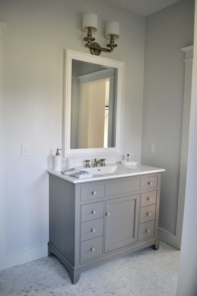 "Grey vanity. Fairmont Designs Smithfield 42"" in Medium Gray #greyvanity Home Bunch's Beautiful Homes of Instagram @sweetthreadsco"
