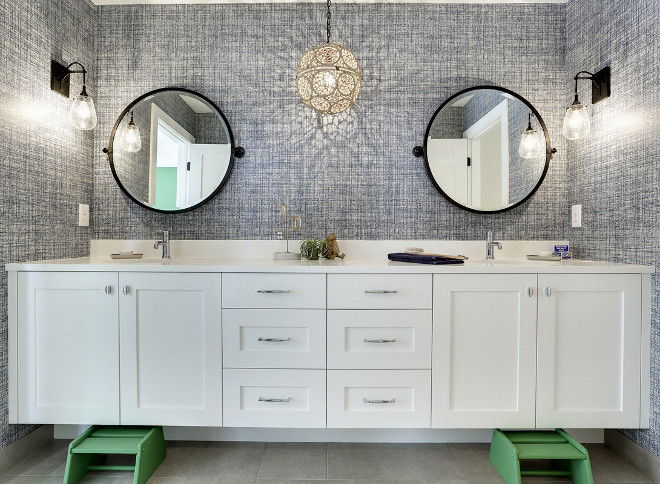 Kids Farmhouse Bathroom. Kids Farmhouse Bathroom. This farmhouse-inspired jack-and-jill bathroom features two sinks and a great wallpaper. The industrial sconces are Sonneman's Chelsea Sconce 4286 - $180 Countertop is HanStone quartz, Royal Blanc. Kids Farmhouse Bathroom #KidsFarmhouseBathroom Refined Custom Homes