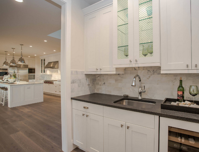 Kitchen Butlers Pantry. Kitchen Butlers Pantry Layout. Kitchen opens to a butler's pantry with honed Coastal Pental Quartz countertop. Kitchen Butlers Pantry. Kitchen Butlers Pantry Ideas #KitchenButlersPantry #Kitchen #ButlersPantry Calista Interiors