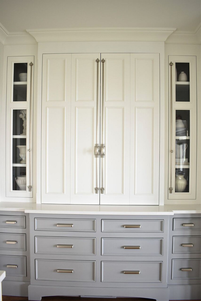 Kitchen Hutch. Kitchen Hutch Ideas. I love the details of this hutch, from its hardware to its two-toned cabinets. Kitchen Hutch Paint Color. Kitchen Hutch hardware #KitchenHutch Kate Abt Design