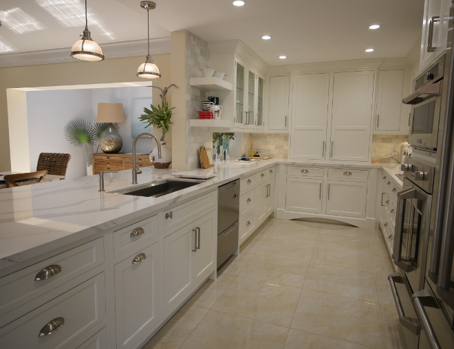 Kitchen With Marble Subway Tile Backsplash