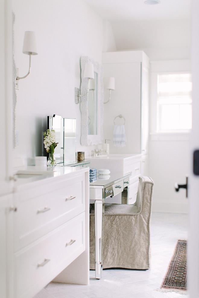 Linen Slipcovered Vanity Chair. Bathroom Linen Slipcovered Vanity Chair. Linen Slipcovered Vanity Chair. Linen Slipcovered Vanity Chair #LinenSlipcoveredChair #VanityChair Kate Marker Interiors